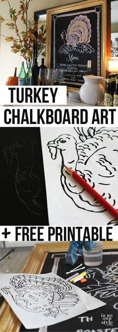 How to draw a turkey on a chalkboard with free turkey printable design to copy.