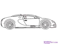 How To Draw A 2010 Bugatti Veyron, Step By Step, Cars, Draw Cars