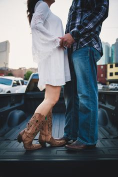 Nashville engagement session with bride in cowboy boots @myweddingdotcom