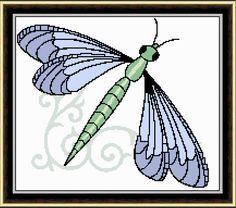 Dragonfly Swirls Cross Stitch Pattern PDF Instant Download by HeritageStitch on Etsy