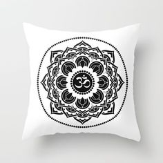 Energy Symbols, Freedom Life, Flower Mandala, Reiki, Boho Chic, Tapestry, Yoga, Throw Pillows, Black And White