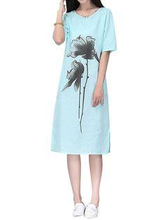 Sale 29% (24.29$) - Vintage Print Half Sleeve O-neck Loose Split Hem Women Dresses