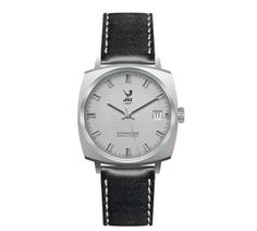 Montre vintage - 3003 Automatique - réédition catalogue 1972-73 - JZ 150-2 - dateur à 3 heures - bracelet cuir noir surpiqué d'un fil blanc, cadran argent et boitier en métal couleur acier - Boutique Officielle JAZ - un savoir-faire horloger made in France depuis 1919.