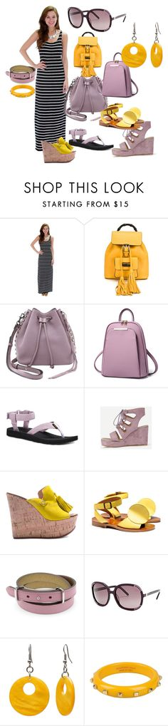 """""""Long stripes dress"""" by dvk4303771 on Polyvore featuring мода, Fashion Club USA, Gucci, Rebecca Minkoff, Teva, Casadei, TRACEY NEULS, Chloé, Mixit и SCERVINO STREET"""