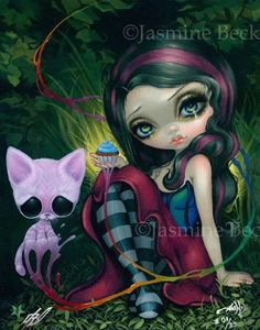 Sweet Dreamers Sugar Fueled Jasmine Becket-Griffith CANVAS PRINT Cupcake Cat art