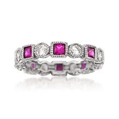 Square Simulated Ruby and 1.40 ct. t.w. CZ Eternity Band in Sterling Silver | #827849 @ ross-simons.com