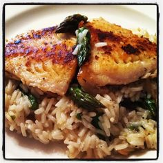 Pan-roasted red snapper with lemon asparagus risotto.