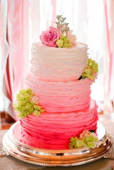 beautiful wedding cake Different color scheme is what I want but I love this
