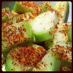 Cucumbers with lime juice and chili powder! So delicious and NO SUGAR! Discover more ways to make vegetables yummy when you download my all-new FREE women's easy diet at http://JorgeCruise.com