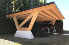 Concrete carport / wooden NEW YORK Proverbio Outdoor Design