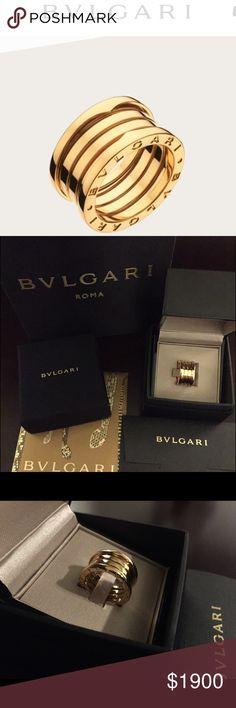 bulgari bvlgari 18k gold ring size 65 nwt