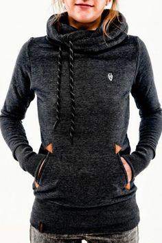 Stylish Hooded Long Sleeve Pocket Design Embroidered Women's HoodieSweatshirts & Hoodies | RoseGal.com