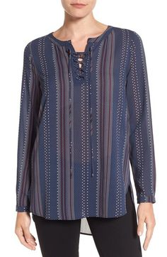 Pleione Print Lace-Up Split Neck Blouse available at #Nordstrom