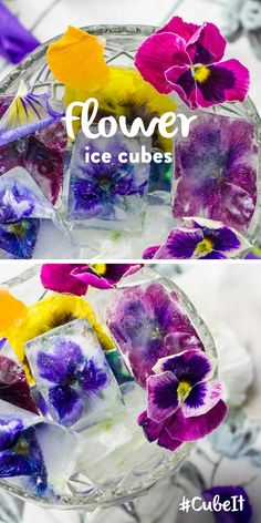 Flower ice cubes. TIP – Add to a cool drink for a fancy garnish! 1) Put edible flowers into your ice cube tray. 2) Pour into your ice cube tray and place in the freezer ... #Beverages #Smoothies #Drinks #Recipe