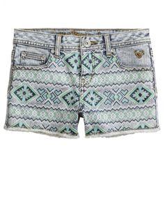 Aztec Print Denim Shorts | Girls Tops Clothes | Shop Justice