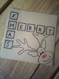 Reindeer Card christmas cards Easy DIY Christmas Card Ideas You'll Want to Send This Season Simple Christmas Cards, Christmas Doodles, Handmade Christmas Tree, Christmas Drawing, Christmas Cards To Make, Homemade Christmas, Xmas Cards, Diy Cards, Christmas Crafts