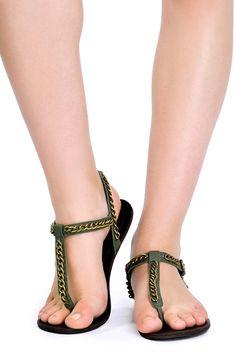 sandália rasteira corrente - Calçados | Dress to