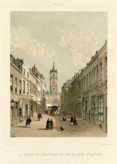 Lithographie intitulée Mons. La tour du château vue de la rue d'Havré, 1853, Charles-Joseph Hoolans