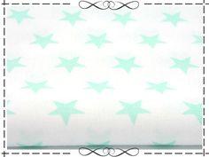 Stoff Sterne - Baumwolle, kleine Sterne minze auf weiß - ein Designerstück von imagine-shop bei DaWanda