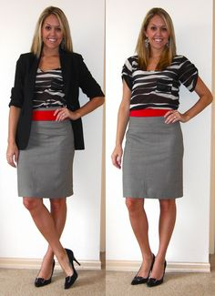 Use a stretchy belt at the top of a pencil skirt to make it not seem so high-waisted... It helps with outfit proportions and can add to the look :)