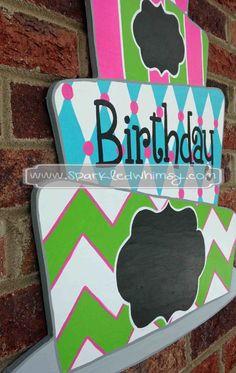 Chalkboard Birthday Cake Door Hanger Sign by SparkledWhimsy