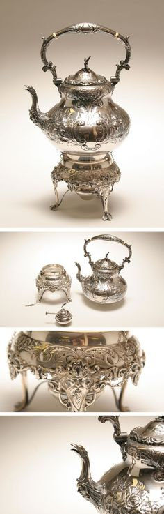 Ornate Sheffield silver plate teapot with matching warming stand; N. Bloom and Son, London, mfg. Hand chased, eagle spout, eagle lift, floral and Old Man of the North decoration, bone spacers.