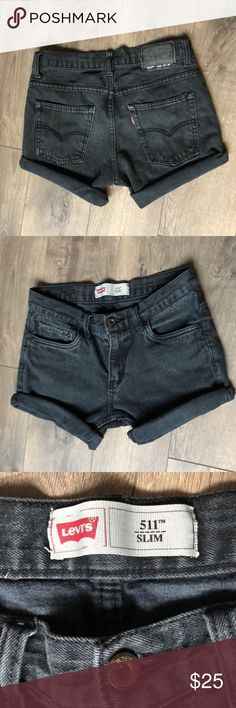 Levi's black denim Jean shorts These are kids size 14 jeans but they fit me perfect and I am a size 0/00!  Jeans that were cut into shorts In perfect condition Make an offer :) Levi's Shorts Jean Shorts