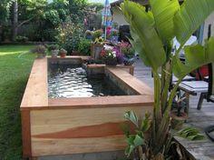 bassin koi en bois dans jardin de maison