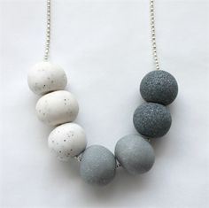 Shades of steel - marble, glitter and granite polymer clay bead necklace