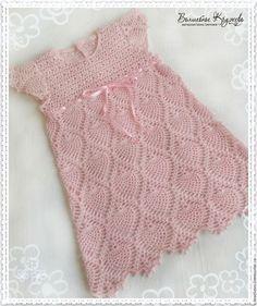 Купить Вязаное детское платье для девочки из хлопка Розовые мечты - бледно-розовый, платье для девочки