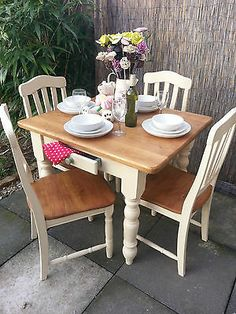 bespoke shabby chic farmhouse table with drawer and 6. Black Bedroom Furniture Sets. Home Design Ideas