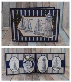 Stampin' Up! UK Demonstrator - Teri Pocock: Sailing Home - Pop-Up Panel Card Sailing Home from Stampin Up. Created by UK Independent Demonstrator Teri Pocock. Masculine Birthday Cards, Birthday Cards For Men, Handmade Birthday Cards, Masculine Cards, Card Birthday, Fancy Fold Cards, Folded Cards, Nautical Cards, Nautical Theme