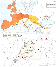 The above map shows the original area where Celts settled in Central Europe. From this region, the Celts expanded. One distinguishes thereby between prehistoric expansions before 500 B.C. and later historical migrations.