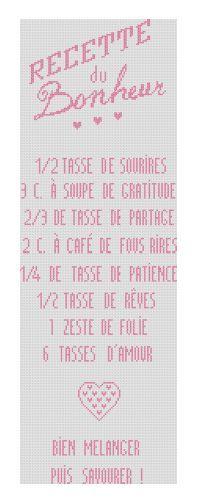Grille gratuite de point de croix : Affiche Recette du bonheur Diy And Crafts, Cross Stitch, Bullet Journal, Monogram, Messages, Embroidery, Phrases, Dreamcatchers, Motifs