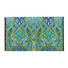 Stained Glass iPad Folio Case-A beautiful artistic rendition of stained glass in various shades of blue, green, teal, aqua, yellow and white.
