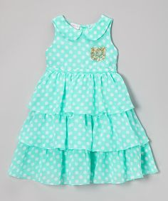 Take a look at this Aqua & White Polka Dot Tiered Sabri Dress - Infant, Toddler & Girls by SAMSofia on #zulily today!