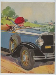 Roaring 20's Convertible Automobile Print Baby Boy & Dog Driving by Twelvetrees #Vintage