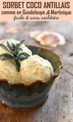 Sorbet Coco, Sorbet Ice Cream, Vegan Ice Cream, Vegan Desserts, Dessert Recipes, Coconut Sorbet, Cooking Chef, Homemade Ice Cream, Ice Cream Recipes