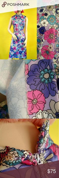 """VTG 60s Floral Hippie Mod Shift Dress The print on this dress is absolutely gorgeous! The fabric is bright and colorful with pink, purple, blue and white flowers. In overall great condition, only a couple tiny spots as seen in photos. Does not specify a size so please check measurements carefully. If I had to guess, I would say a size 8 or 10. Please feel free to ask any questions :)  Emilio Borghese Roma Polyester Measurements (laying flat): Length: 39"""" Shoulder to Shoulder: 14.5""""…"""