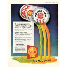 Original 1958 Shell Premium Motor Oil Print Ad - Gas & Energy Advertisement -An original vintage 1958 advertisement, not a reproduction -Measures approximately x to x -Ready for matting and framing. Gas Energy, Oil Change, Magazine Ads, Advertising Design, Photoshop Tutorial, Print Ads, Vintage Books, Save Yourself, Shells