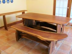 "Rustic Black Walnut 72"" Custom Dining Table With Benches And Buffet Table"