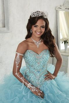 Designed for your dream 15 is this delightful ball gown with scallop pattern beading, lace-up back, sweetheart neckline, and organza ruffled skirt with wired edging. Xv Dresses, Quince Dresses, Ball Gown Dresses, Prom Dresses, Wedding Dresses, Sweet 16 Dresses, Pretty Dresses, Pretty Quinceanera Dresses, Quinceanera Party