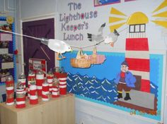 Display of Light House Keepers Lunch Seaside Theme, Sea Theme, School Displays, Classroom Displays, Lighthouse Keepers Lunch, Katie Morag, Old School House, Book Corners, Learning Spaces