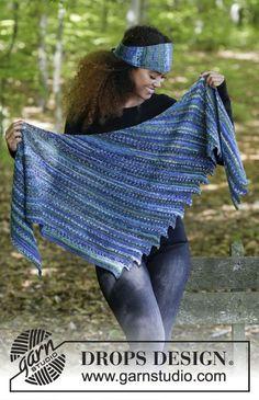 L'ensemble se compose de: châle au point mousse tricoté en diagonale avec pointes d'un côté, bandeau avec point mousse et côtes. L'ensemble se tricote en DROPS Fabel. Modèle gratuit de DROPS Design.