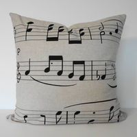 Musical Notes Decorative Linen Pillow Cover in by pillows4fun