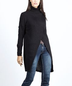 Another great find on #zulily! Black Crossover Turtleneck Sweater by Scarlett #zulilyfinds