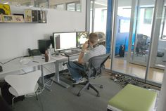 Quiet but glass-walled private/focus space, breathing room, dim lighting for focus Future Office, Front Office, Open Office, Office Desk, Small Office Design, Startup Office, Lunch Room, Business Centre, Interior And Exterior