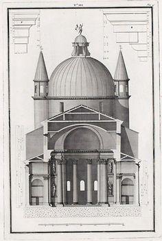 Andrea Palladio: 'Basilica del Santissimo Redentore', Venice; begun in 1577, completed after Palladio's death in 1592 by Antonio da Ponte; transversal section by Ottavio Bertotti Scamozzi, 1783