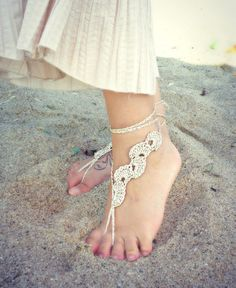 Crochet Gold Barefoot Sandals Nude shoes Foot jewelry by ZAPrix