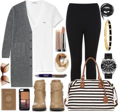 This by far is the easiest airplane outfit for anyone to duplicate. Easy to wear basics in neutral interchangeable colors plus a few stylish accessories – simple flight fashion! Read for more Best Real People Airplane Outfit Ideas!